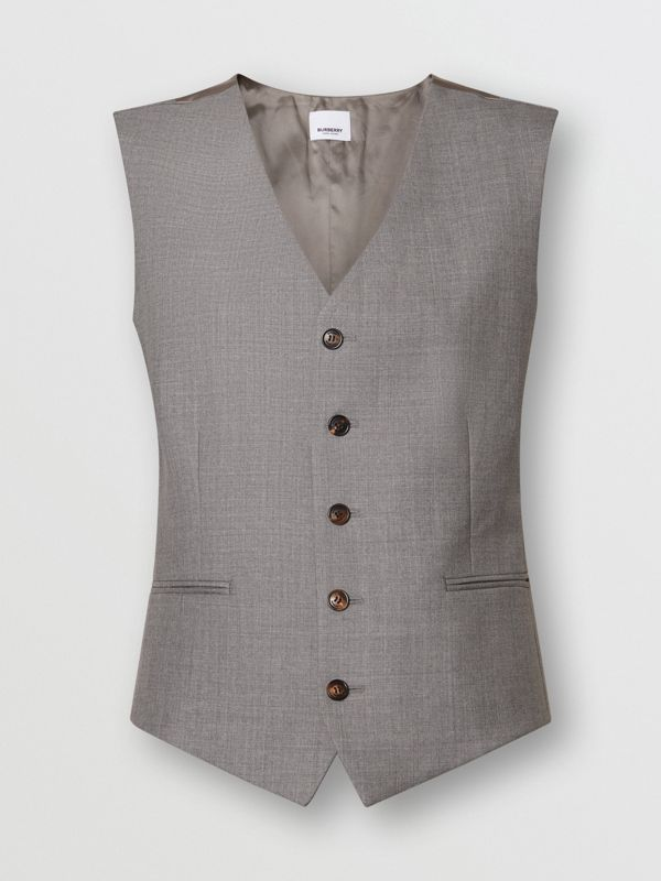 Satin Panel Wool Tailored Waistcoat in Flint - Women | Burberry - cell image 3