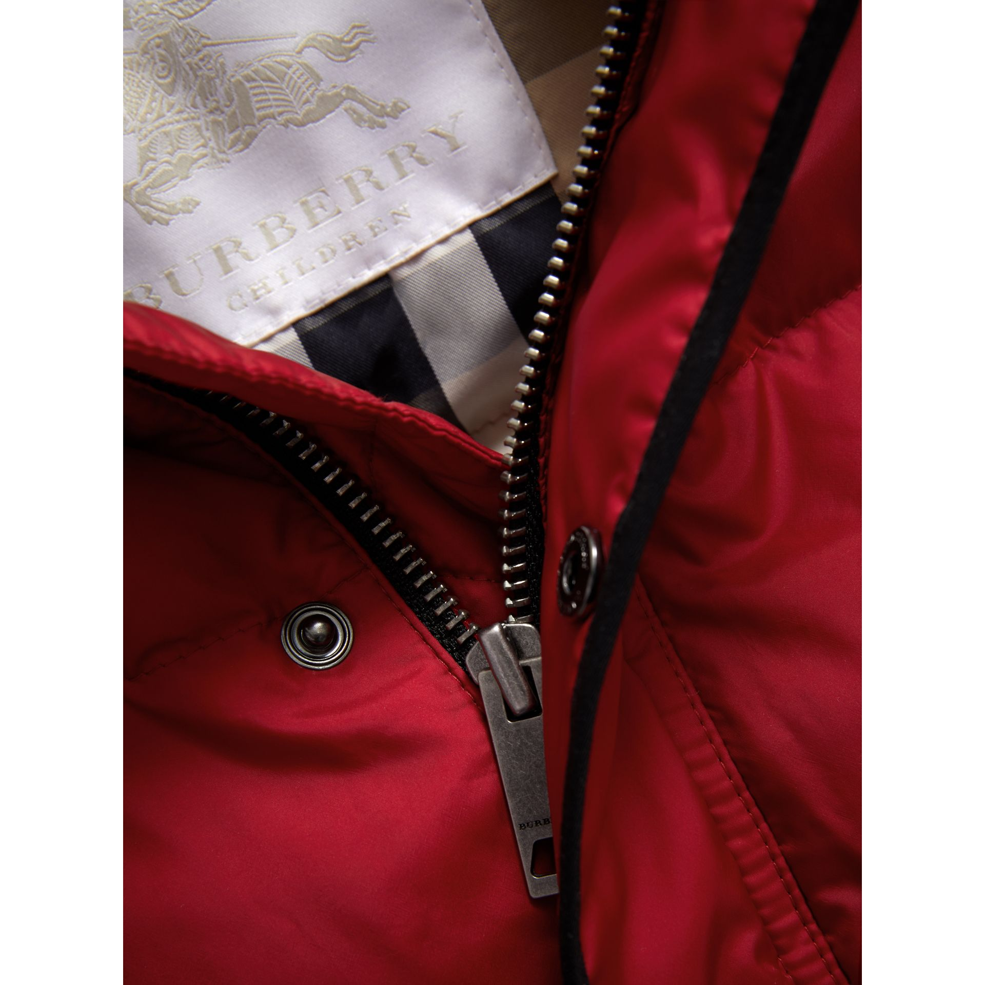 Down-filled Hooded Gilet in Parade Red - Boy | Burberry - gallery image 1