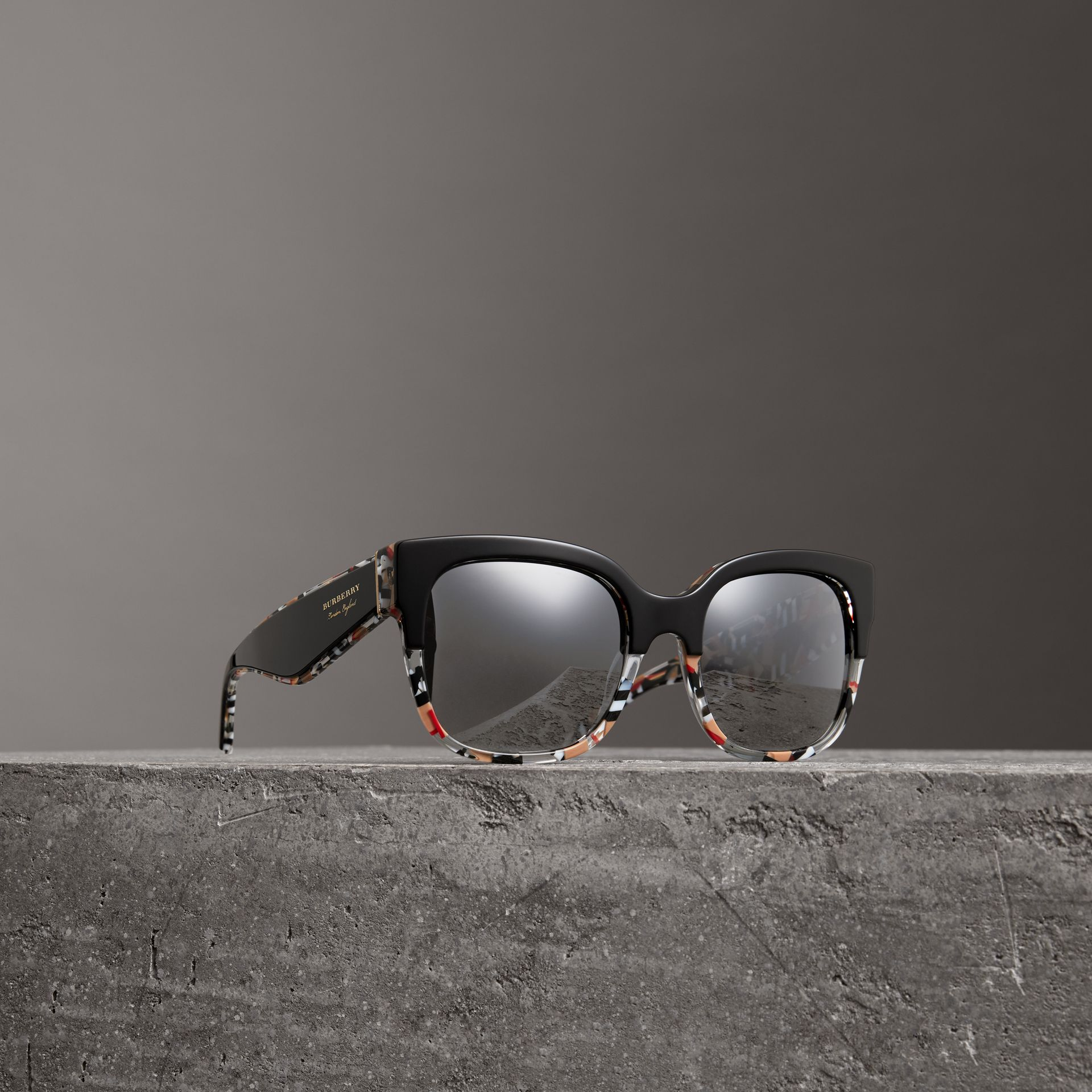Patchwork Check Oversize Square Frame Sunglasses in Black - Women | Burberry Hong Kong - gallery image 0