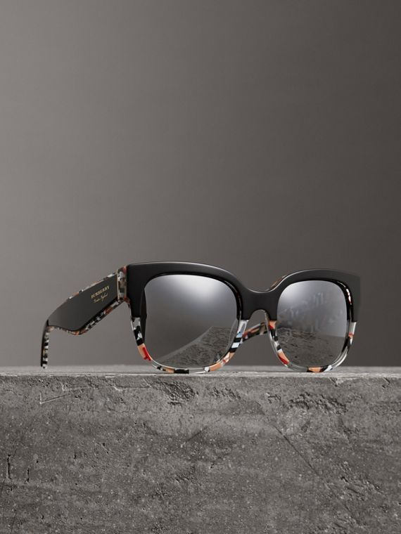 Patchwork Check Oversize Square Frame Sunglasses in Black