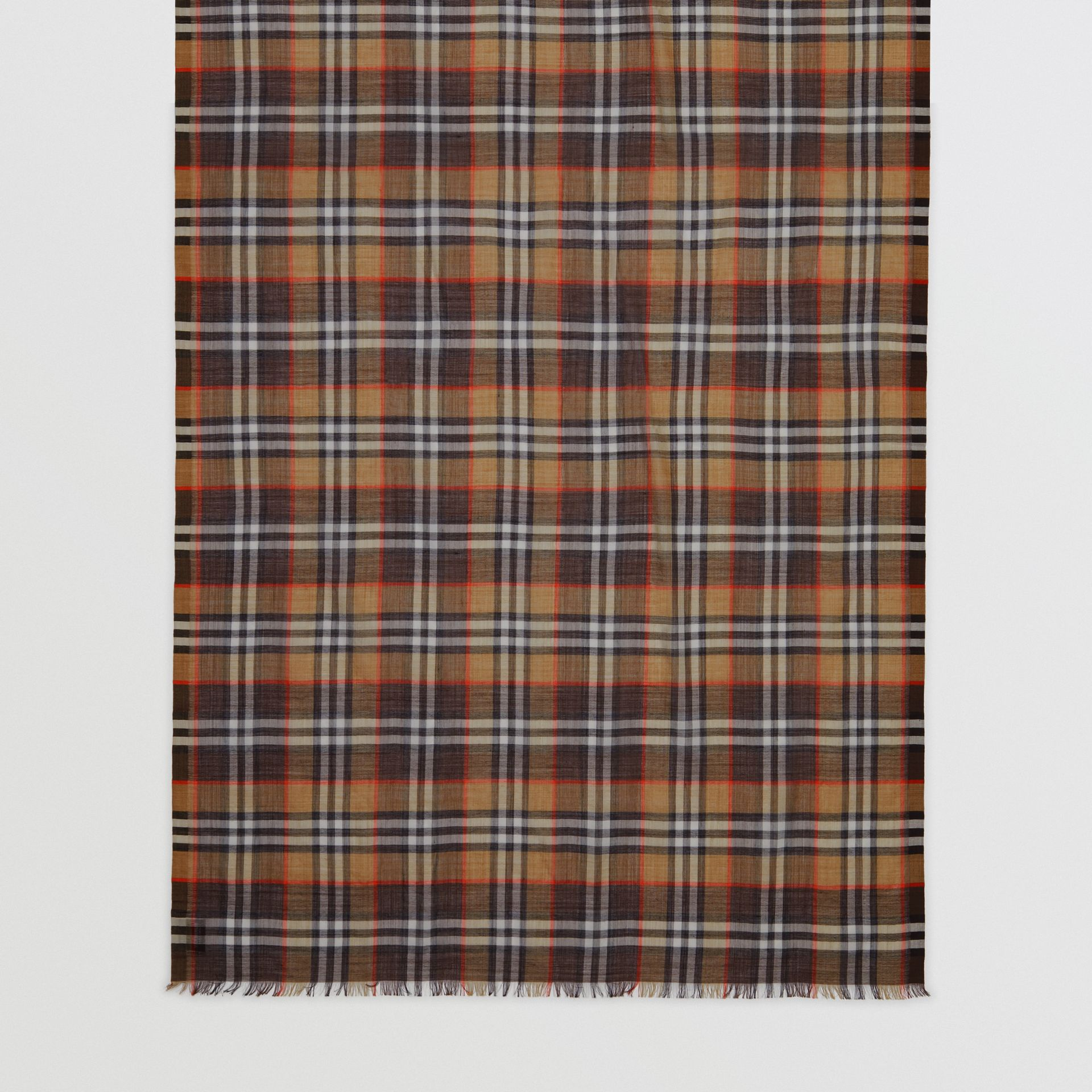 Vintage Check Lightweight Wool Silk Scarf in Mahogany | Burberry United Kingdom - gallery image 3