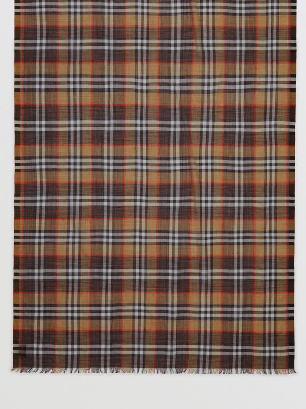 Vintage Check Lightweight Wool Silk Scarf in Mahogany | Burberry United Kingdom - cell image 3