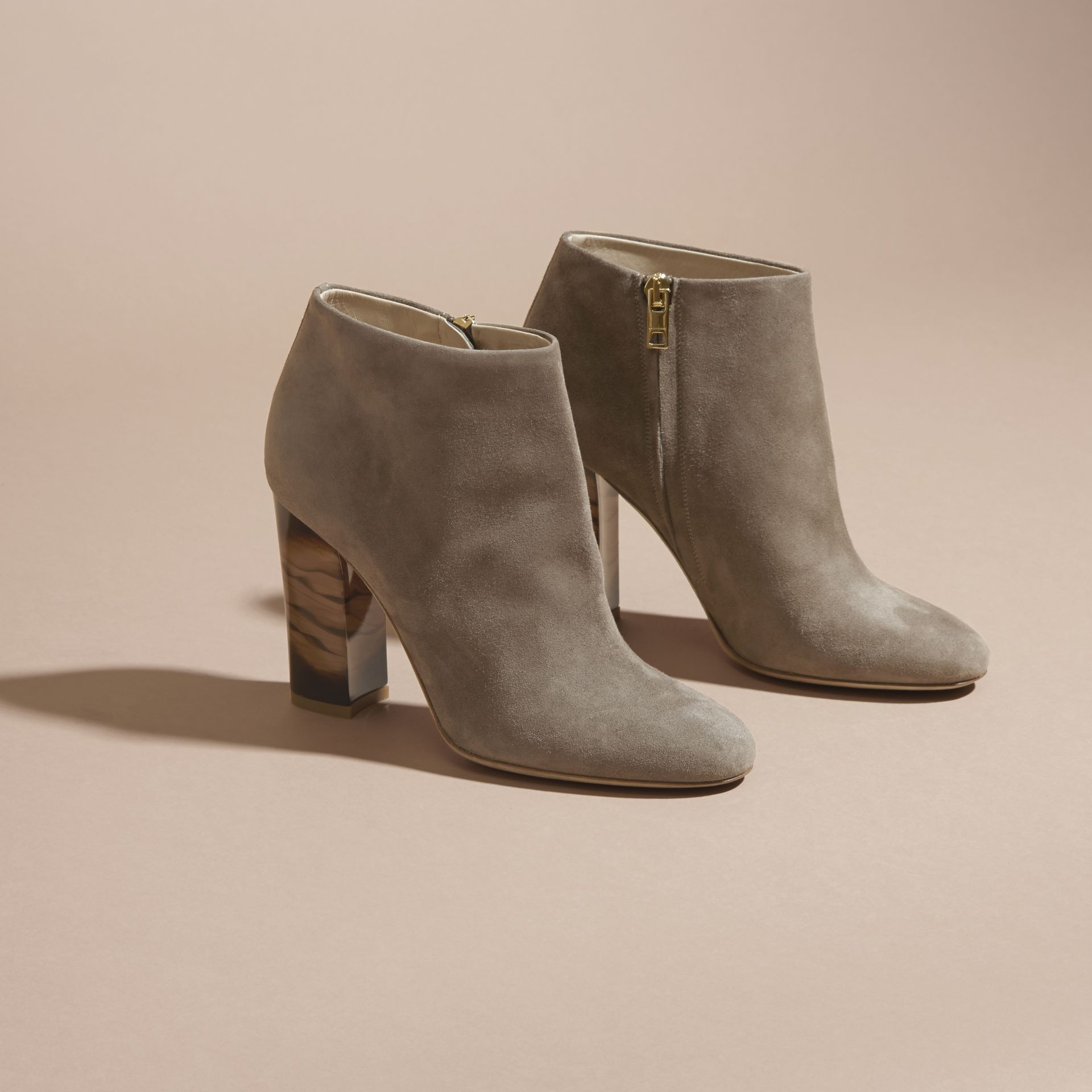 Dark heather melange Suede Ankle Boots - gallery image 3