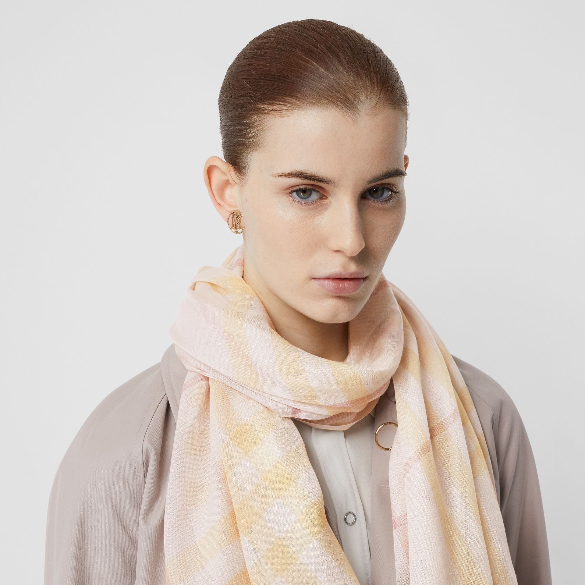 Lightweight Check Wool and Silk Scarf in Primrose | Burberry Australia - gallery image 2