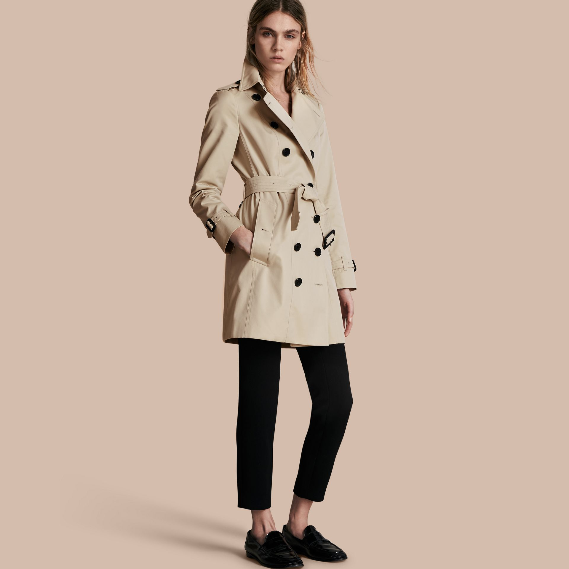 Stone The Sandringham – Mid-Length Heritage Trench Coat Stone - gallery image 1