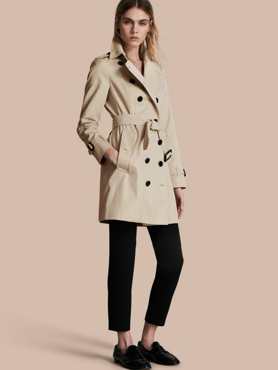 Trench coat Sandringham - Trench coat Heritage de longitud media Piedra