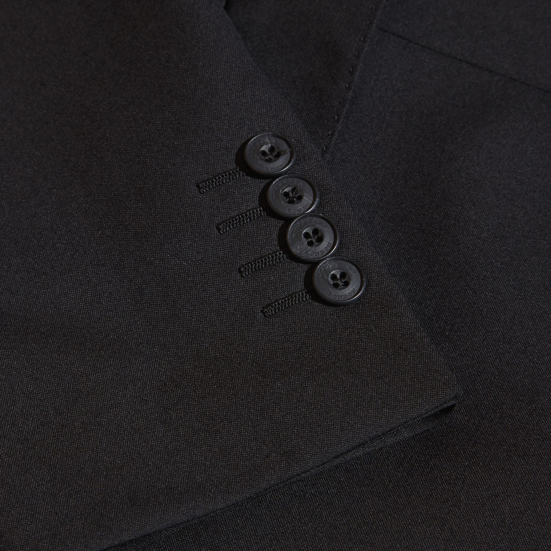 Black Modern Fit Wool Part-canvas Suit Black - gallery image 2