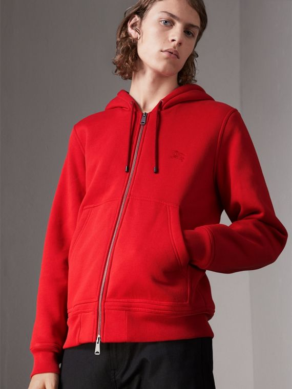 Check Detail Jersey Hooded Top in Military Red