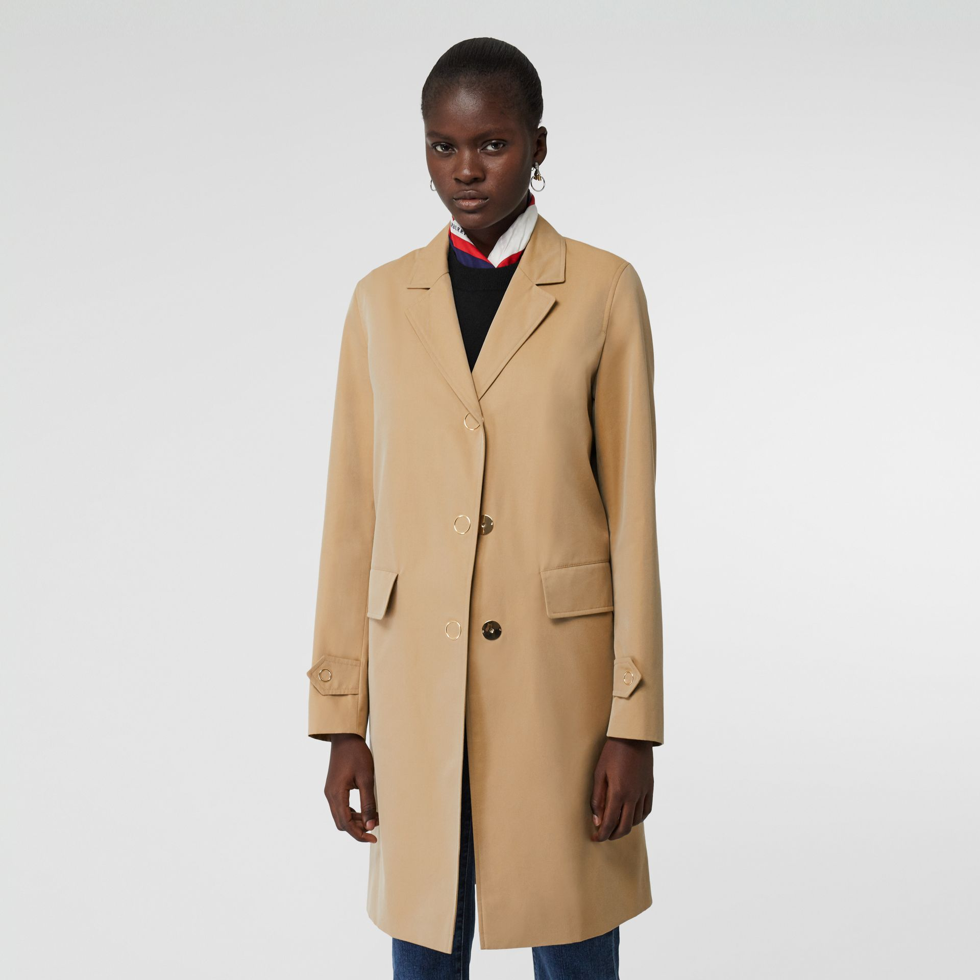 Press-stud Detail Cotton Gabardine Car Coat in Honey - Women | Burberry - gallery image 6