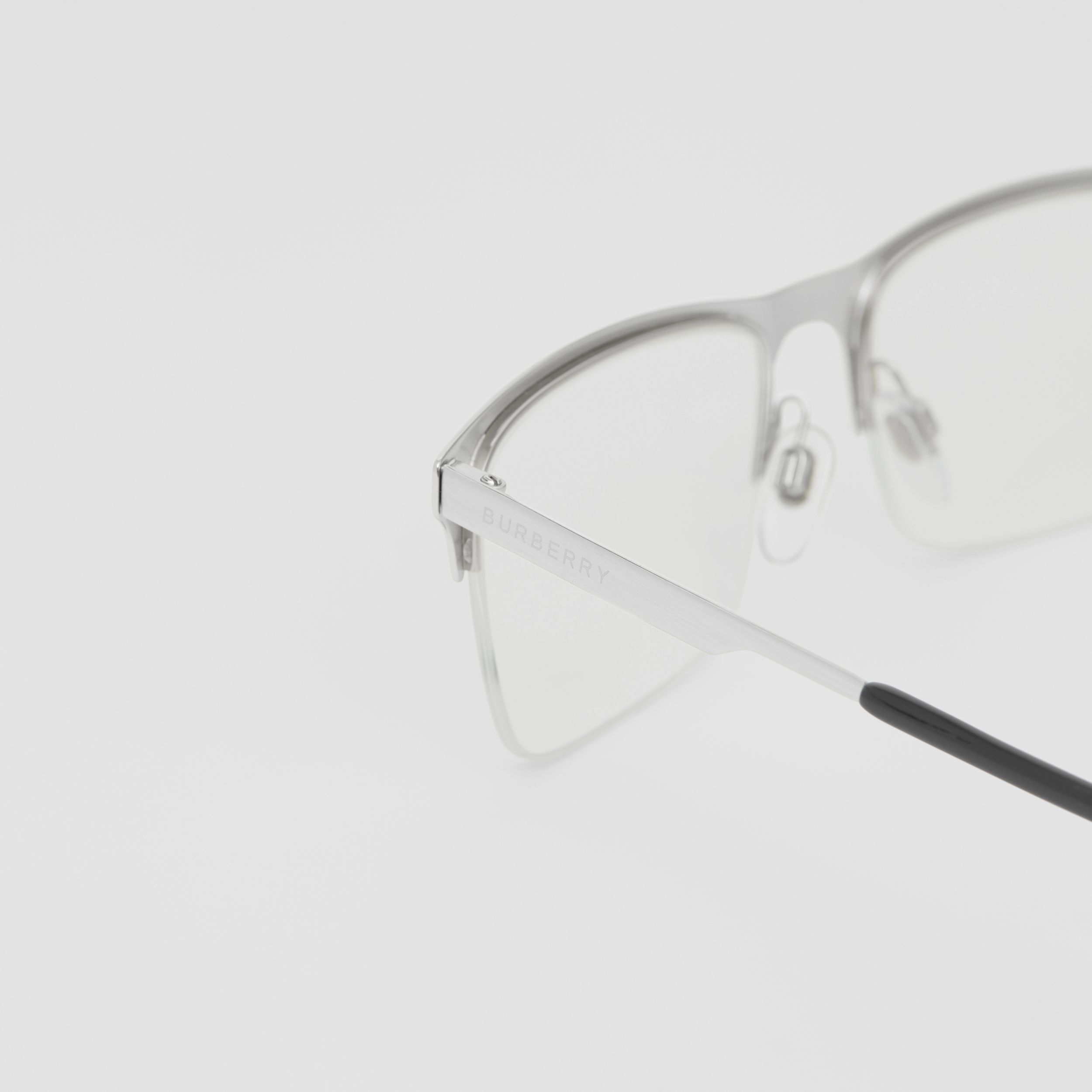 Rectangular Optical Frames in Silver - Men | Burberry - 2