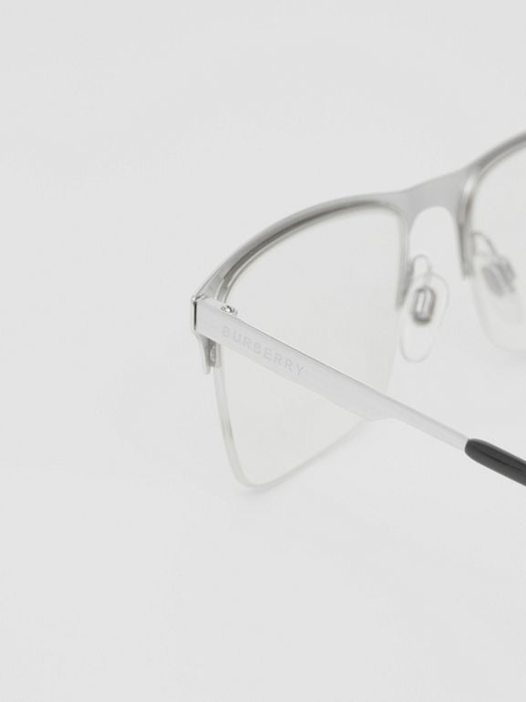 Rectangular Optical Frames in Silver - Men | Burberry - cell image 1
