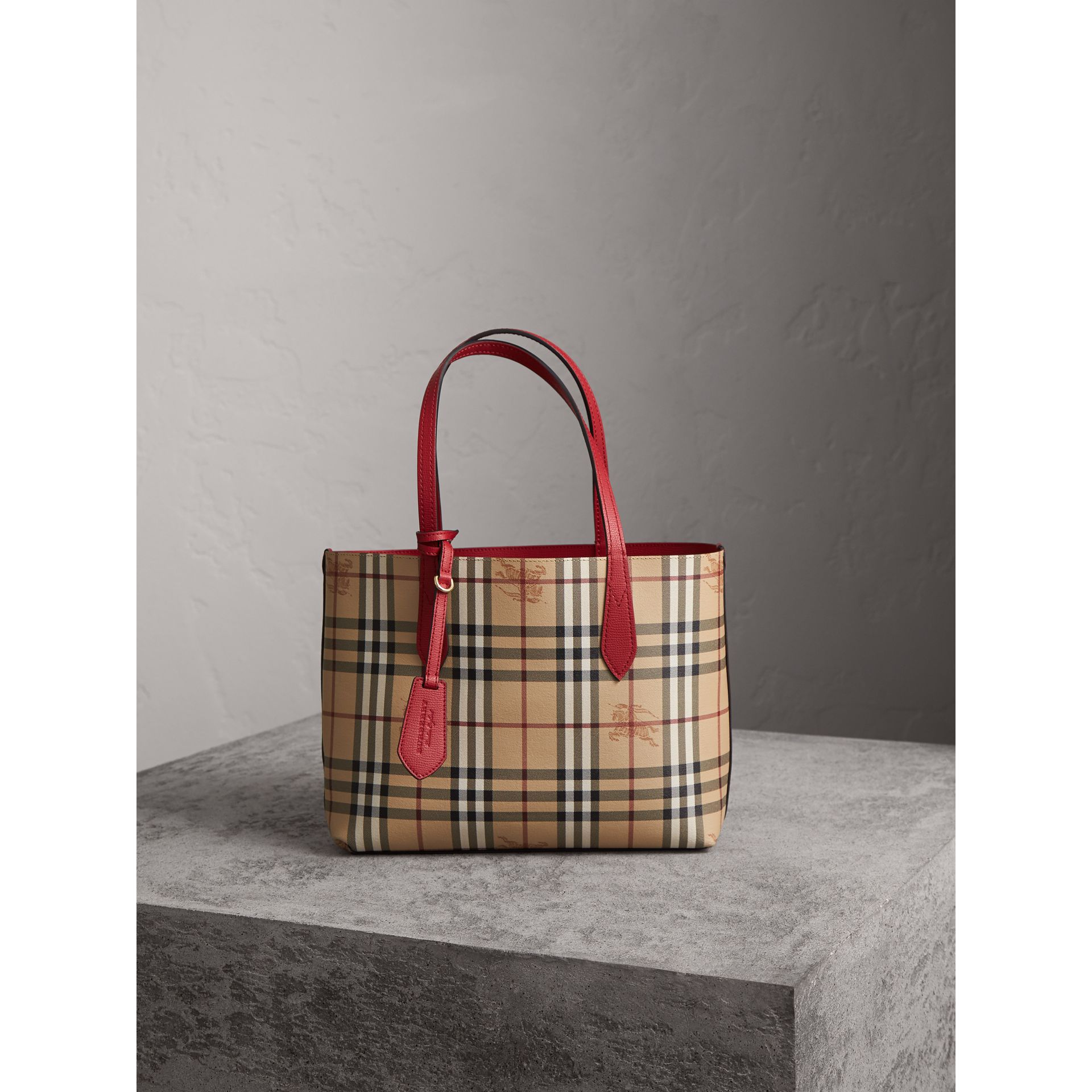 The Small Reversible Tote in Haymarket Check and Leather in Poppy Red - Women | Burberry - gallery image 6