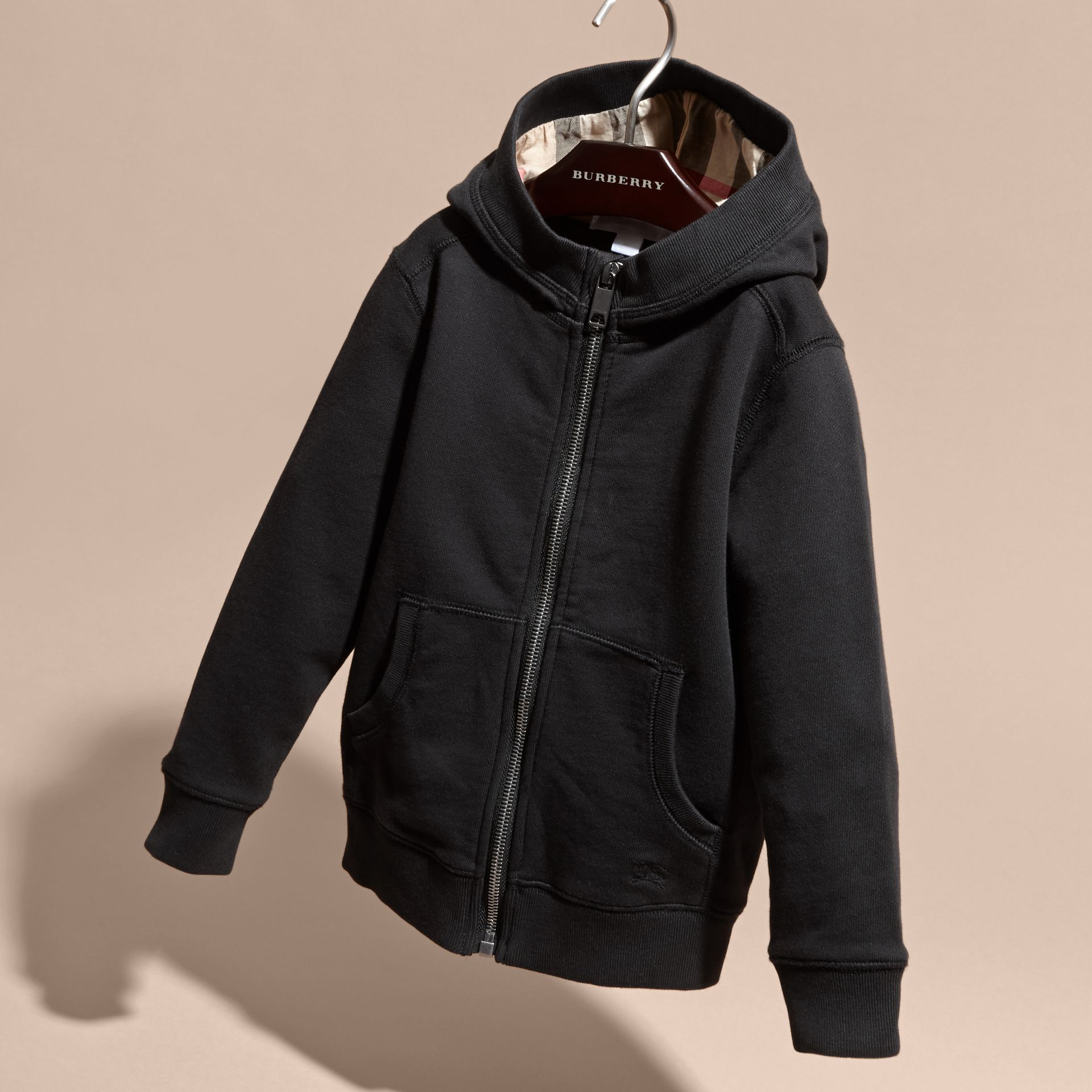 Hooded Cotton Top in Black - Boy | Burberry - gallery image 3