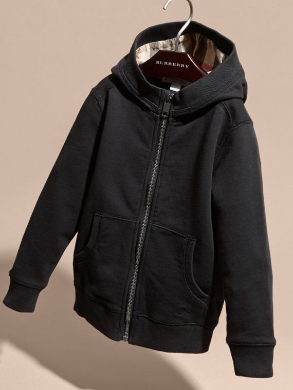Hooded Cotton Top in Black - Boy | Burberry - cell image 2