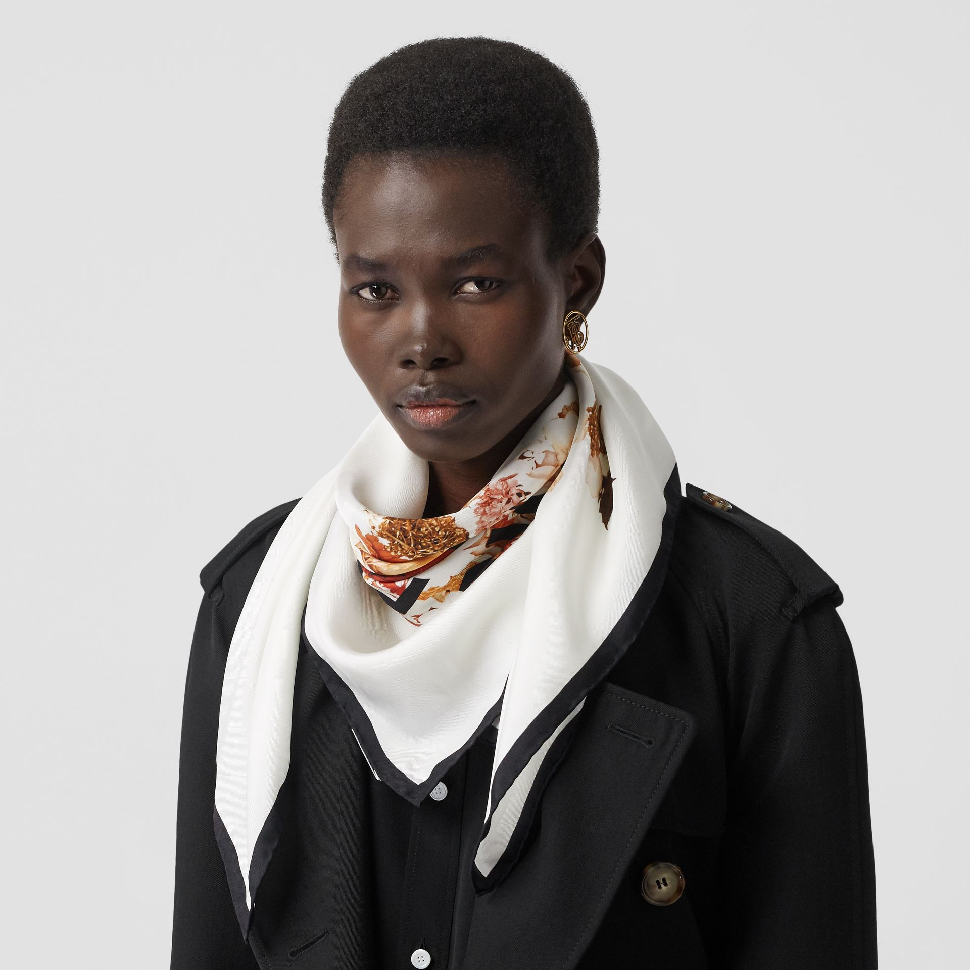 Floral Print Silk Square Scarf in Biscuit | Burberry - gallery image 2
