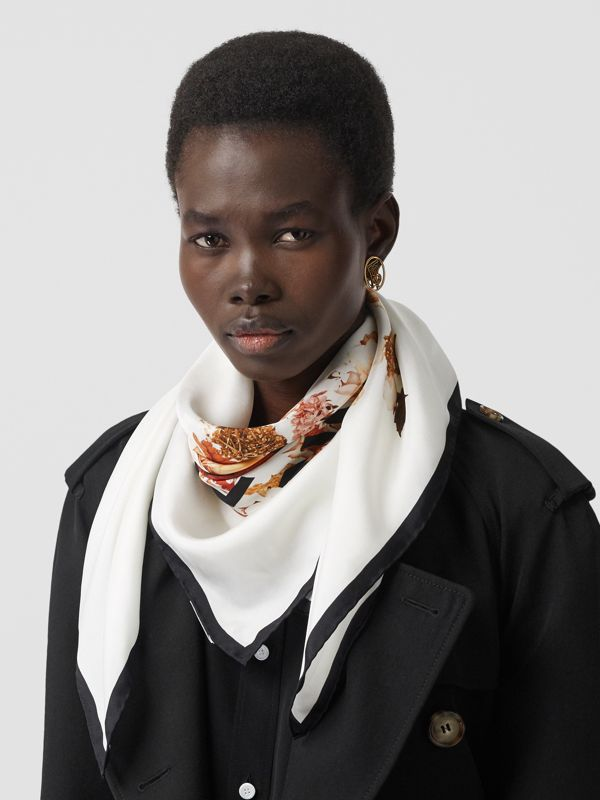 Floral Print Silk Square Scarf in Biscuit | Burberry - cell image 2