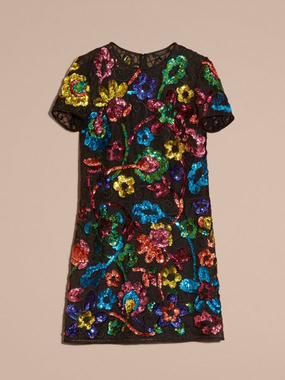 Black Guipure Lace Dress with Sequin Flowers - cell image 3