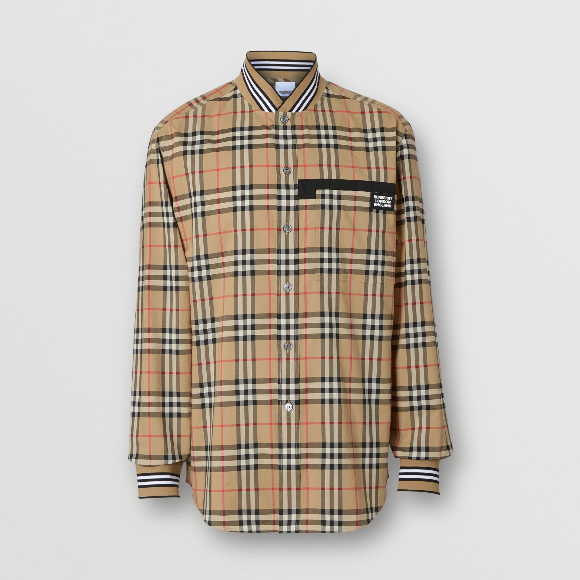 Rib Knit Detail Vintage Check Cotton Shirt in Archive Beige - Men | Burberry - gallery image 3