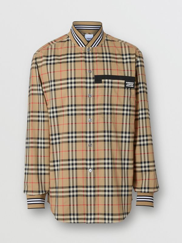 Rib Knit Detail Vintage Check Cotton Shirt in Archive Beige - Men | Burberry - cell image 3