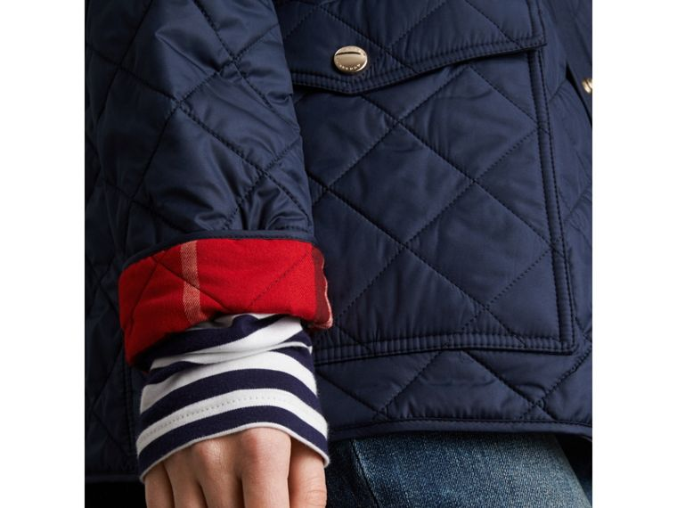 Check Detail Diamond Quilted Jacket in Navy - Women | Burberry - cell image 4