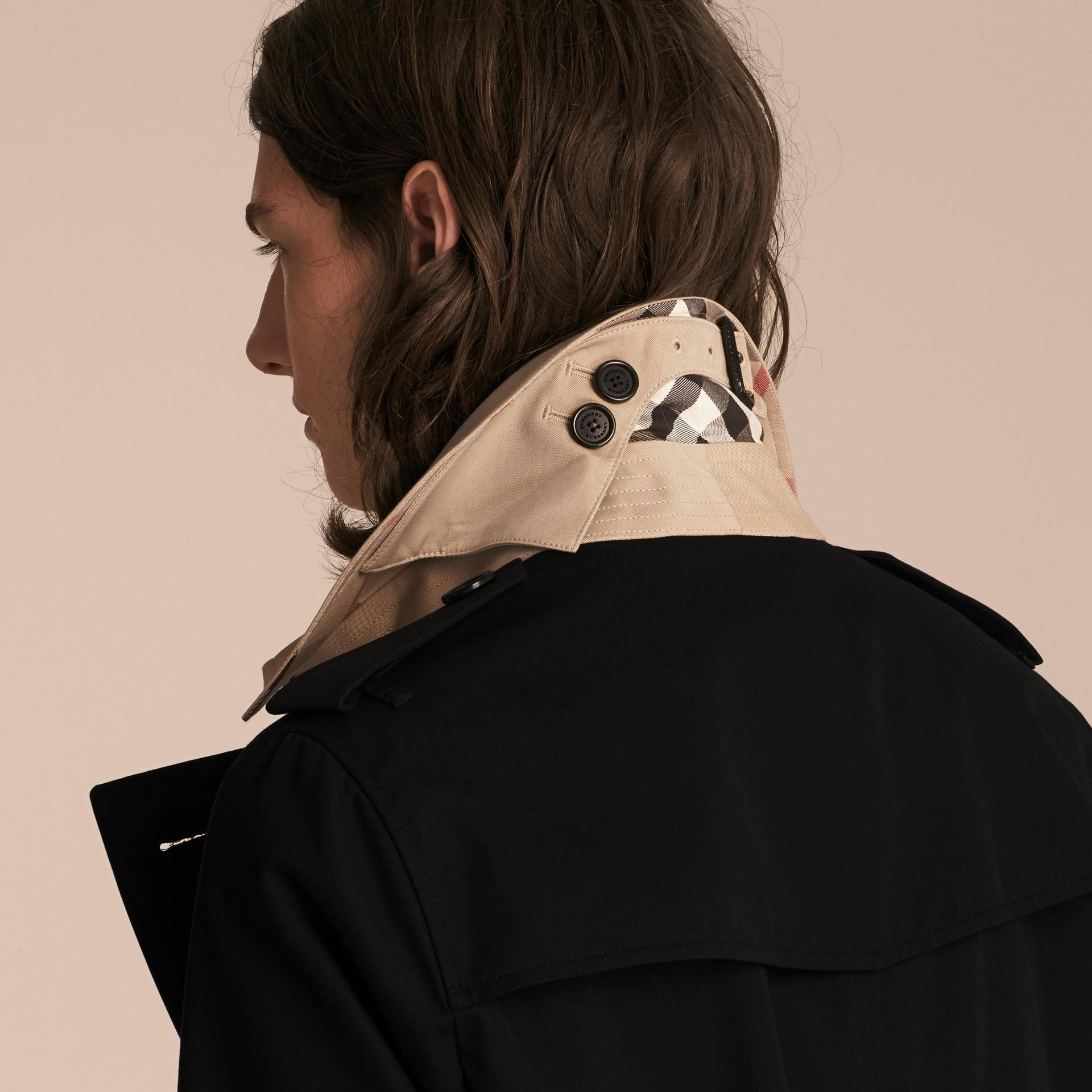 Black Contrast-collar Cotton Gabardine Trench Coat - gallery image 5