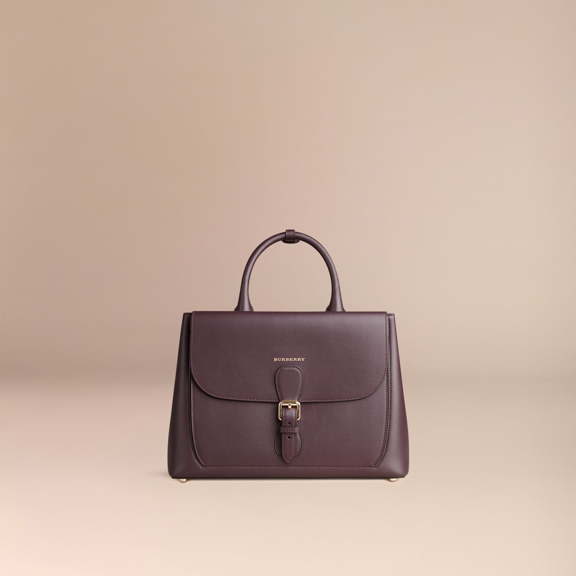 Dark amethyst The Medium Saddle Bag in Smooth Bonded Leather Dark Amethyst - gallery image 7