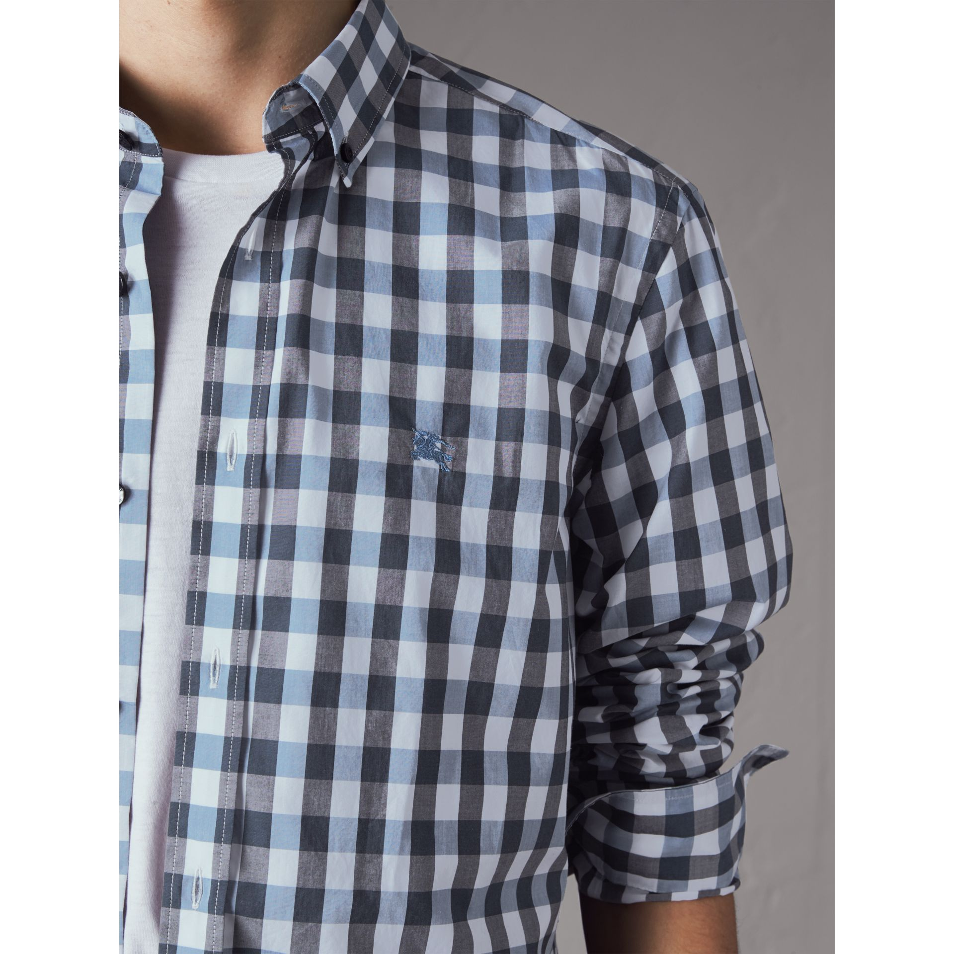Button-down Collar Gingham Cotton Shirt in Mineral Blue - Men | Burberry - gallery image 2