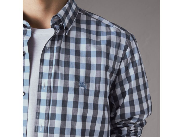 Button-down Collar Gingham Cotton Shirt in Mineral Blue - Men | Burberry - cell image 1