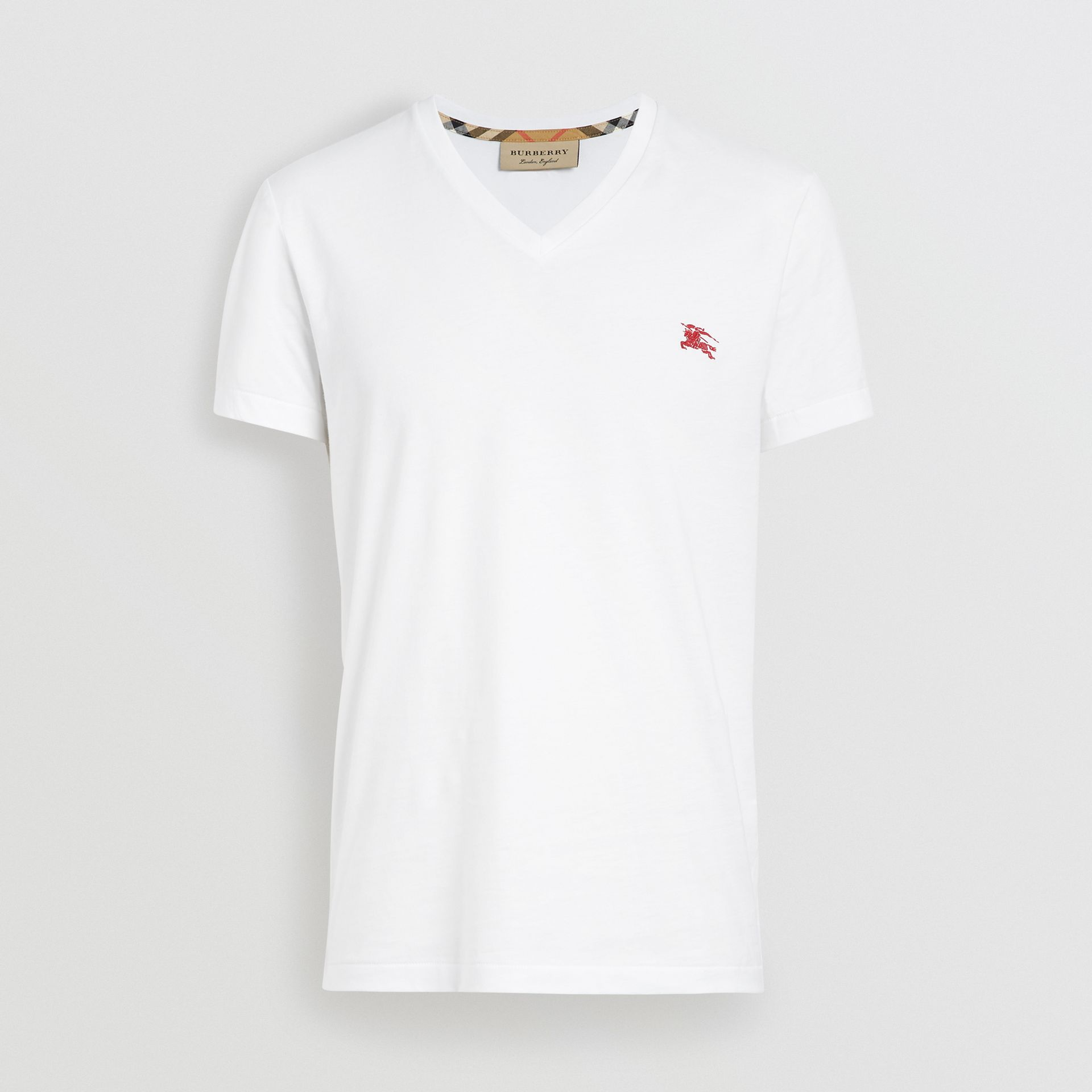 Cotton Jersey V-neck T-shirt in White - Men | Burberry United Kingdom - gallery image 3
