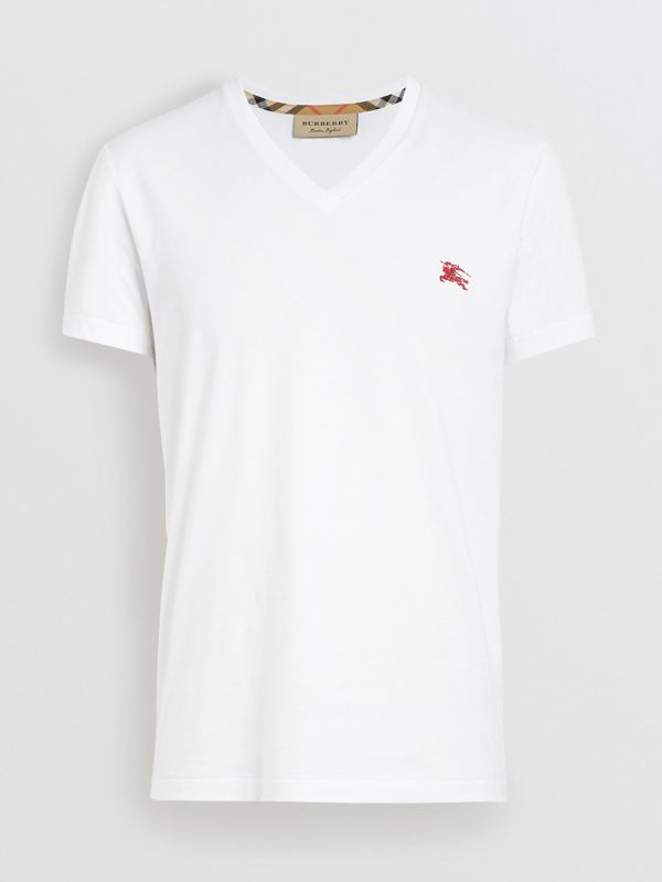 Cotton Jersey V-neck T-shirt in White - Men | Burberry Australia - cell image 3