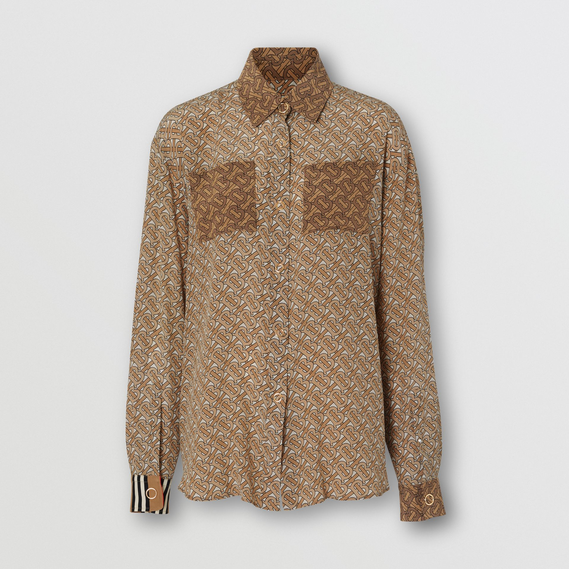Two-tone Monogram Print Silk Oversized Shirt in Light Camel - Women | Burberry - gallery image 3