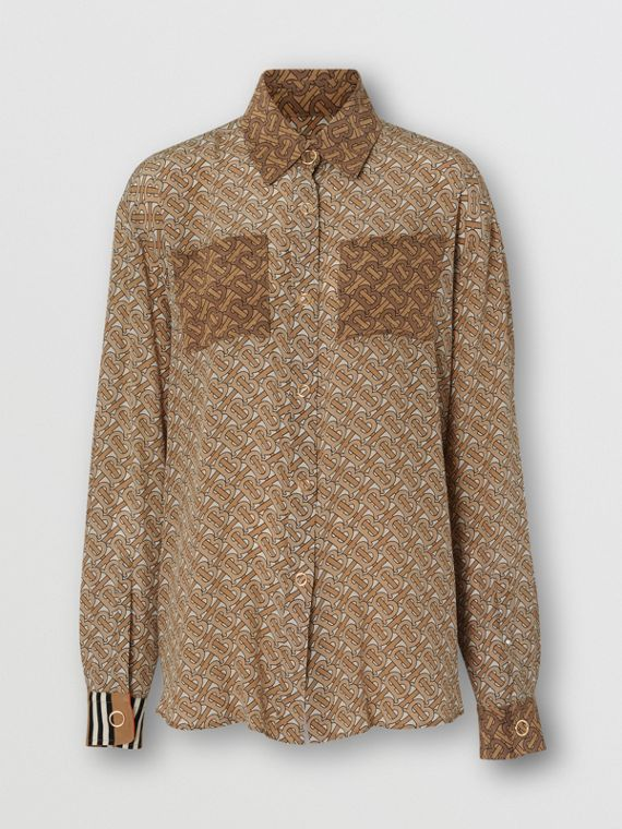 Two-tone Monogram Print Silk Oversized Shirt in Light Camel