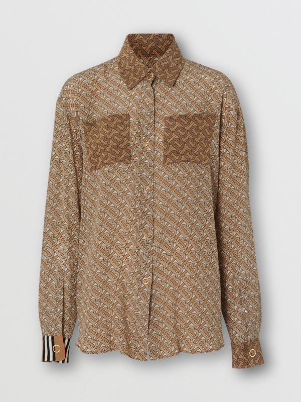 Two-tone Monogram Print Silk Oversized Shirt in Light Camel - Women | Burberry - cell image 3