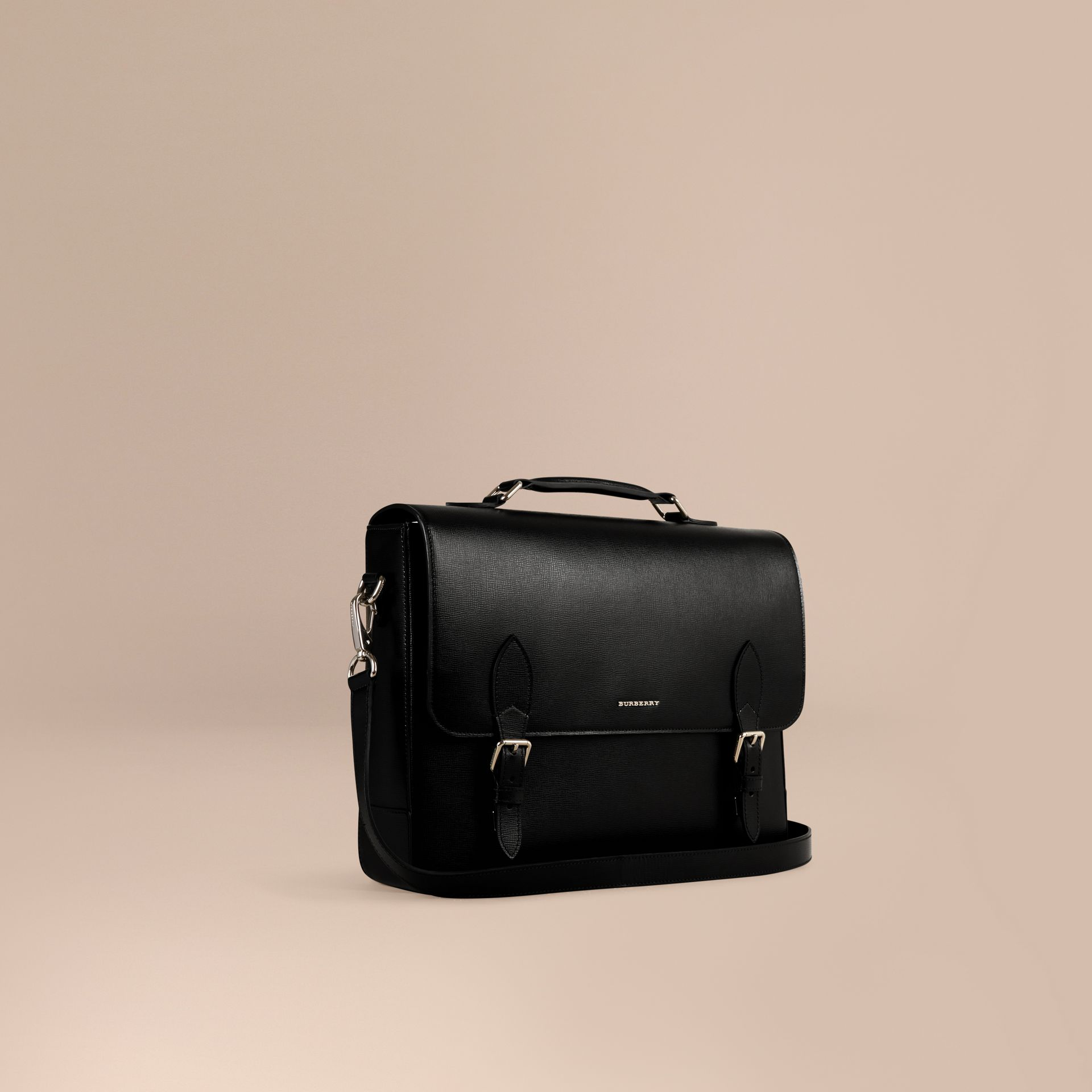 Black London Leather Briefcase - gallery image 1