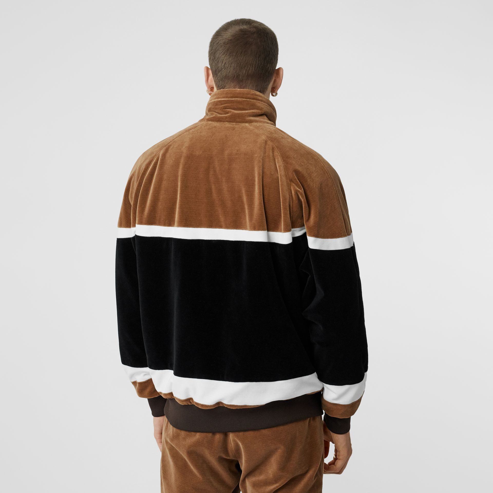 Logo Graphic Striped Chenille Track Top in Dark Walnut - Men | Burberry - gallery image 2