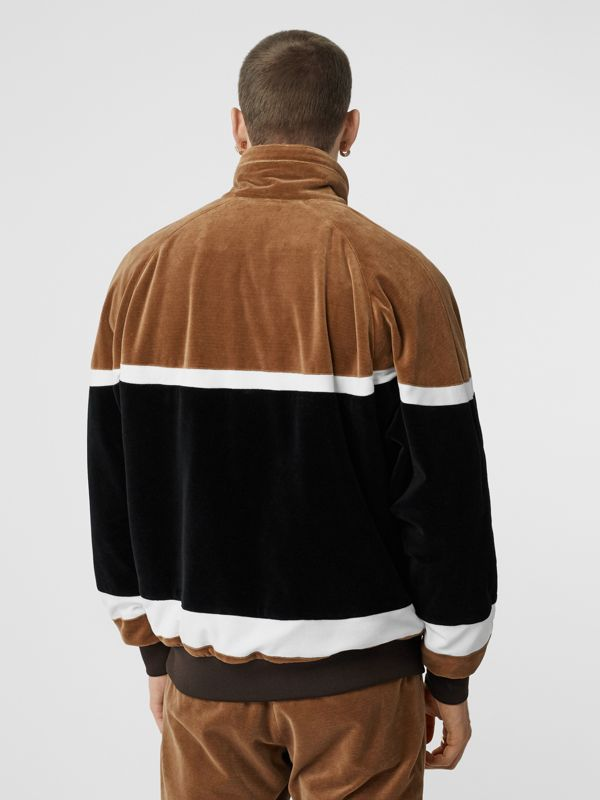 Logo Graphic Striped Chenille Track Top in Dark Walnut - Men | Burberry - cell image 2