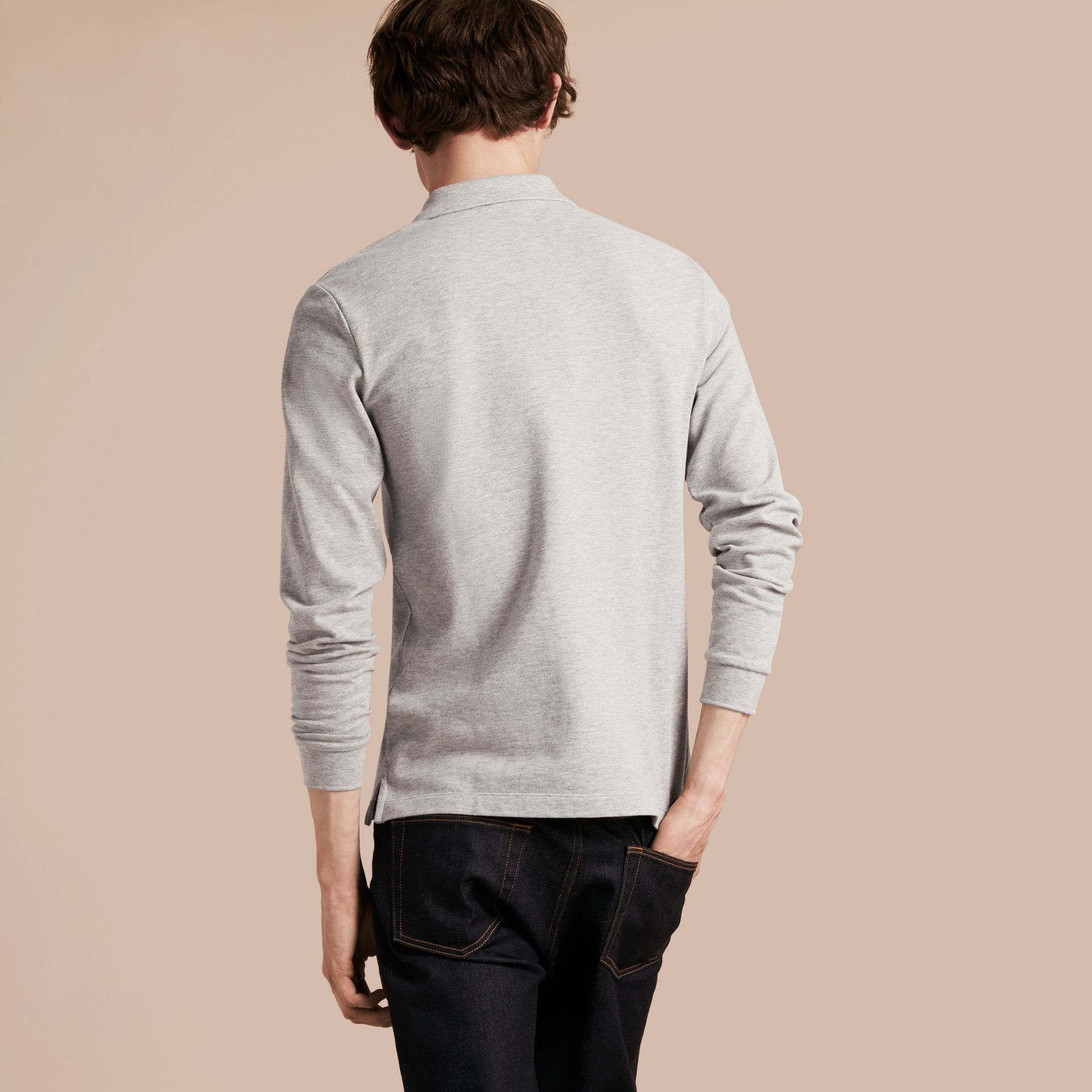 Check Placket Long Sleeve Polo Shirt in Pale Grey Melange - gallery image 3