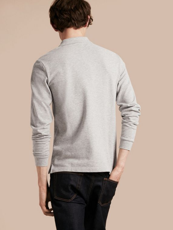 Check Placket Long Sleeve Polo Shirt in Pale Grey Melange - cell image 2