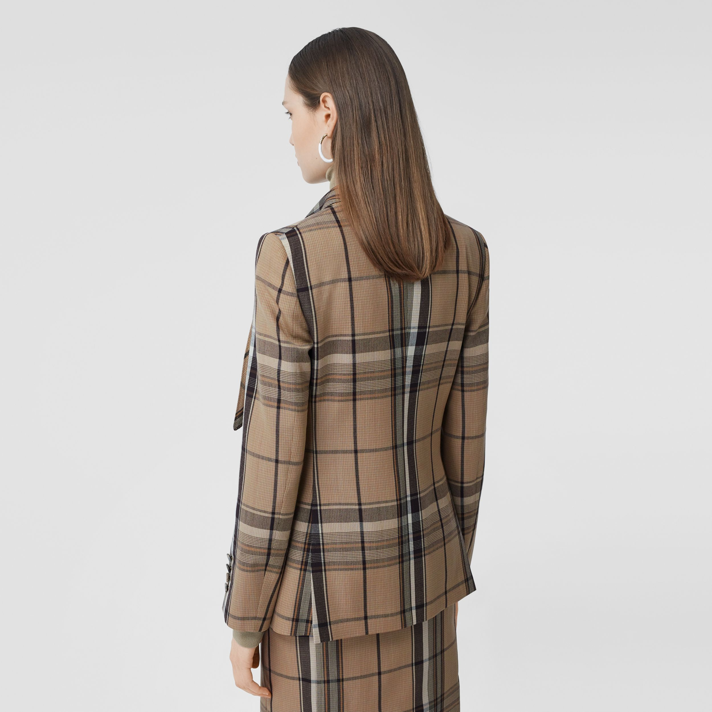 Knot Detail Check Wool Tailored Jacket - Women | Burberry - 3