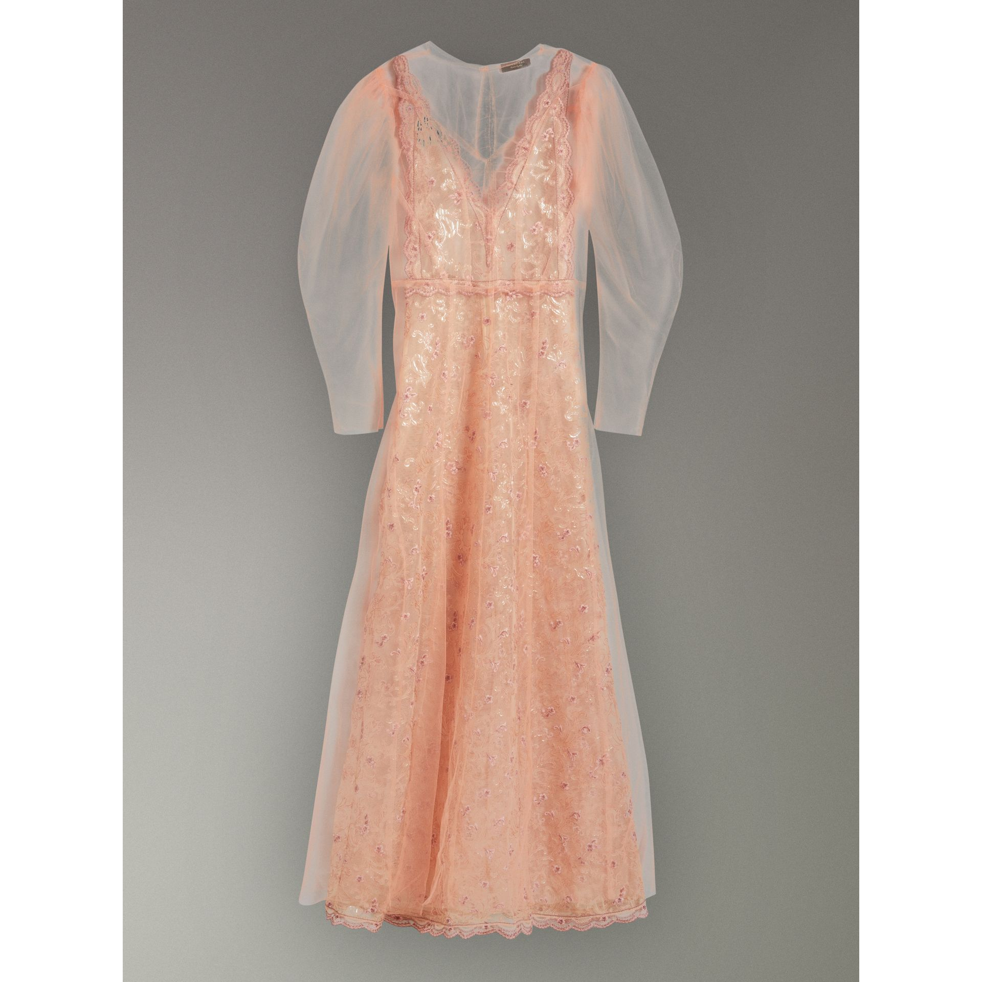 Floral-embroidered Puff-sleeve Dress in Dusty Pink - Women | Burberry United States - gallery image 3