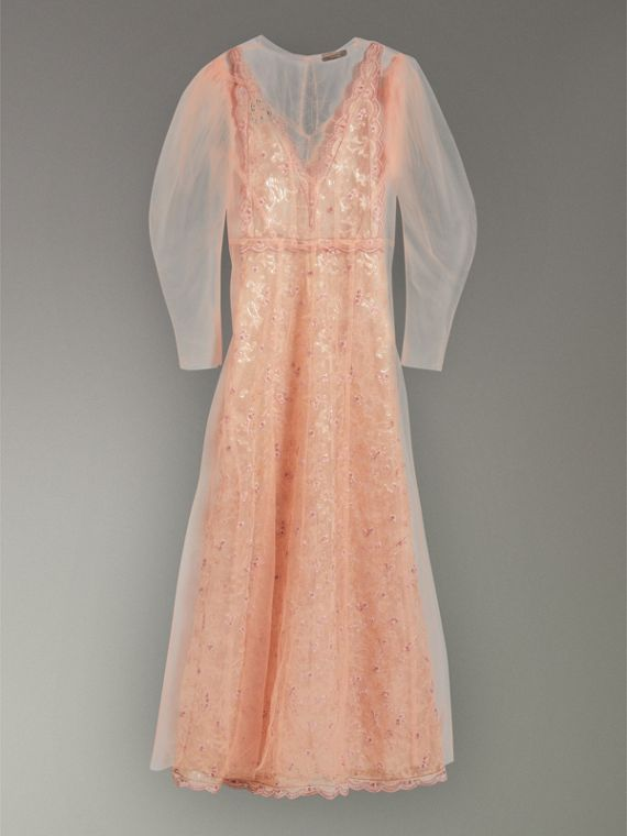 Floral-embroidered Puff-sleeve Dress in Dusty Pink - Women | Burberry United States - cell image 3