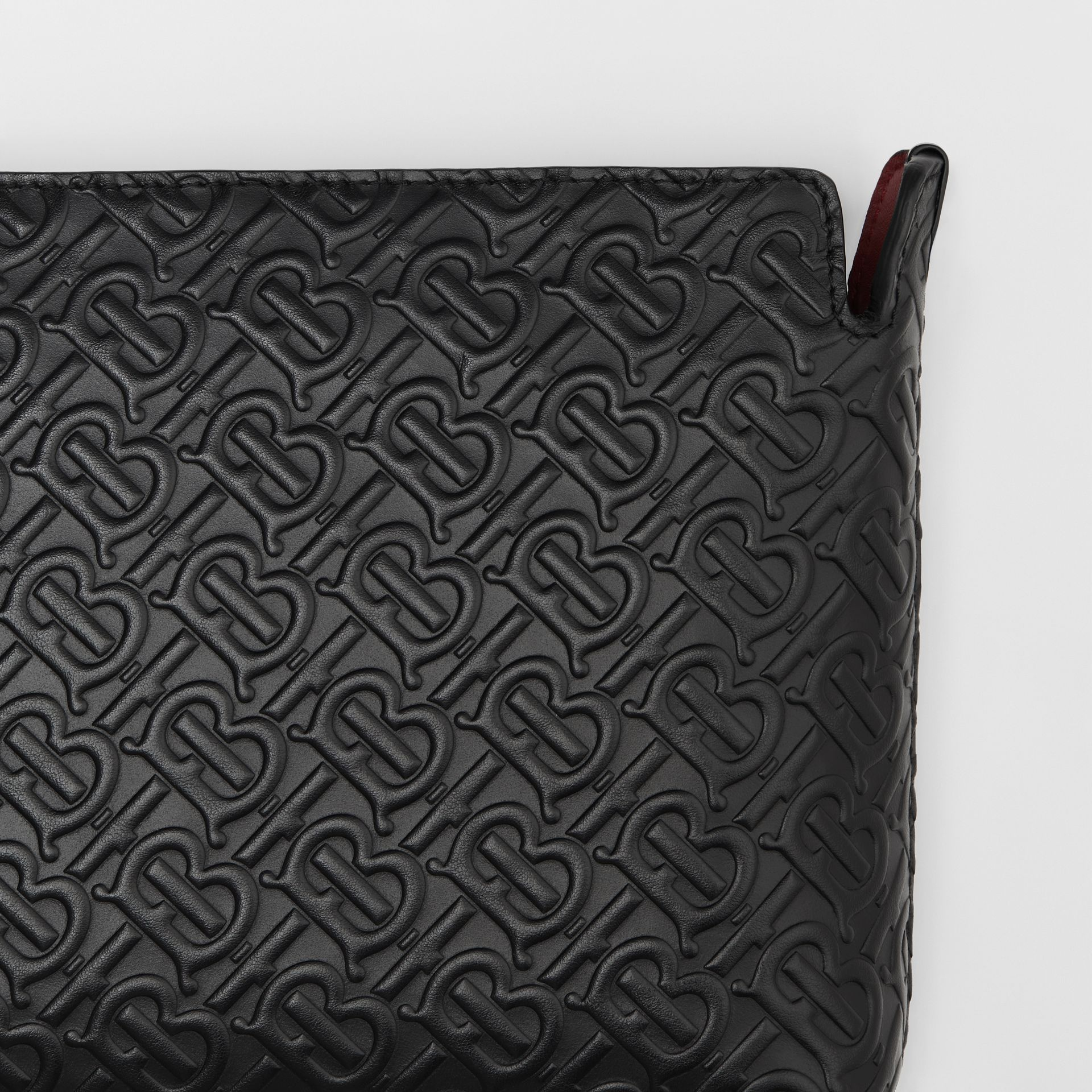 Medium Monogram Leather Clutch in Black - Women | Burberry - gallery image 1