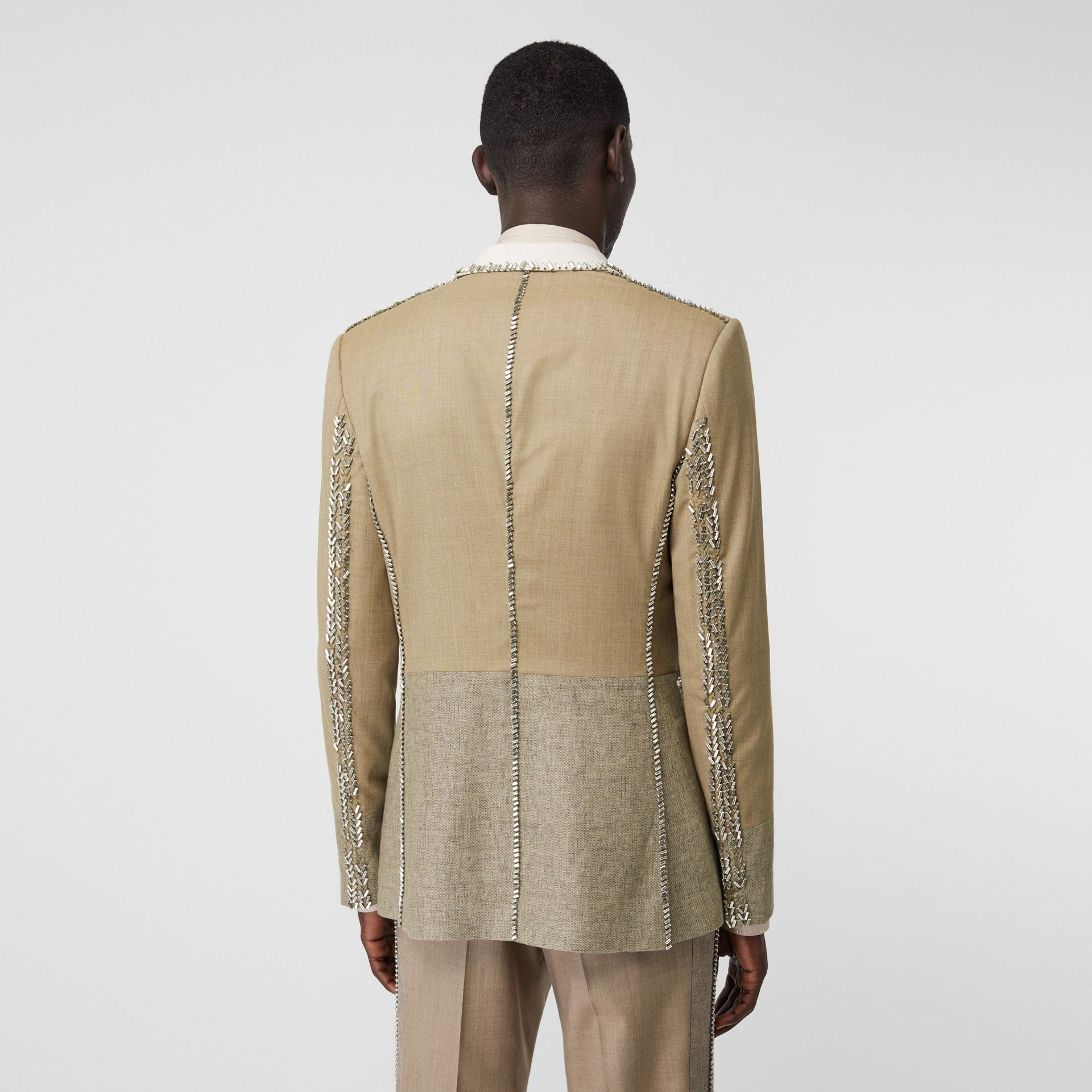 English Fit Crystal Embroidered Wool Cashmere Jacket in Pecan Melange | Burberry - gallery image 2