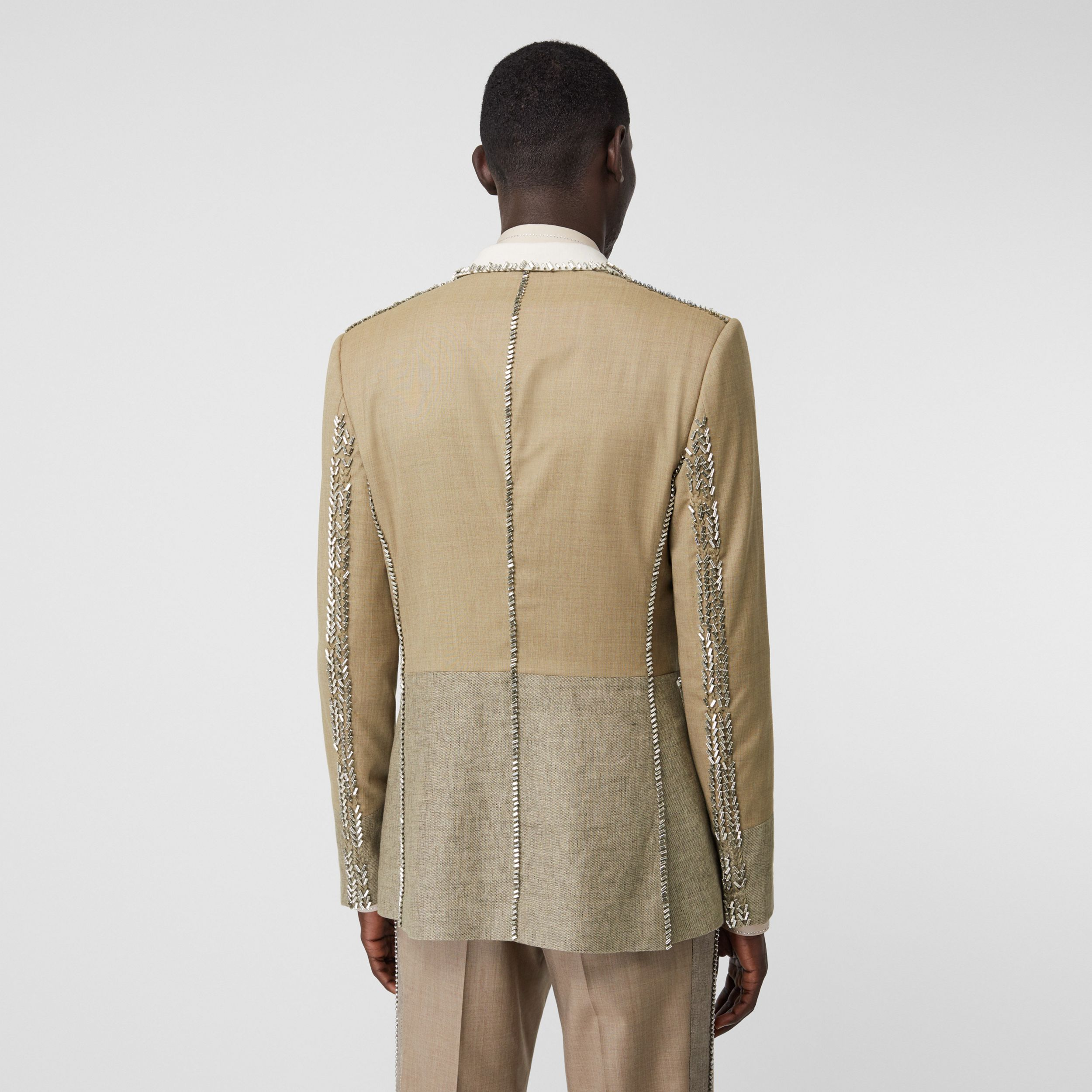 English Fit Crystal Embroidered Wool Cashmere Jacket in Pecan Melange - Men | Burberry Singapore - 3