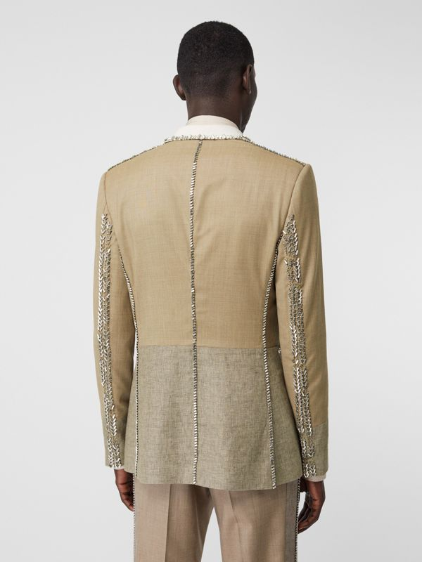 English Fit Crystal Embroidered Wool Cashmere Jacket in Pecan Melange | Burberry - cell image 2