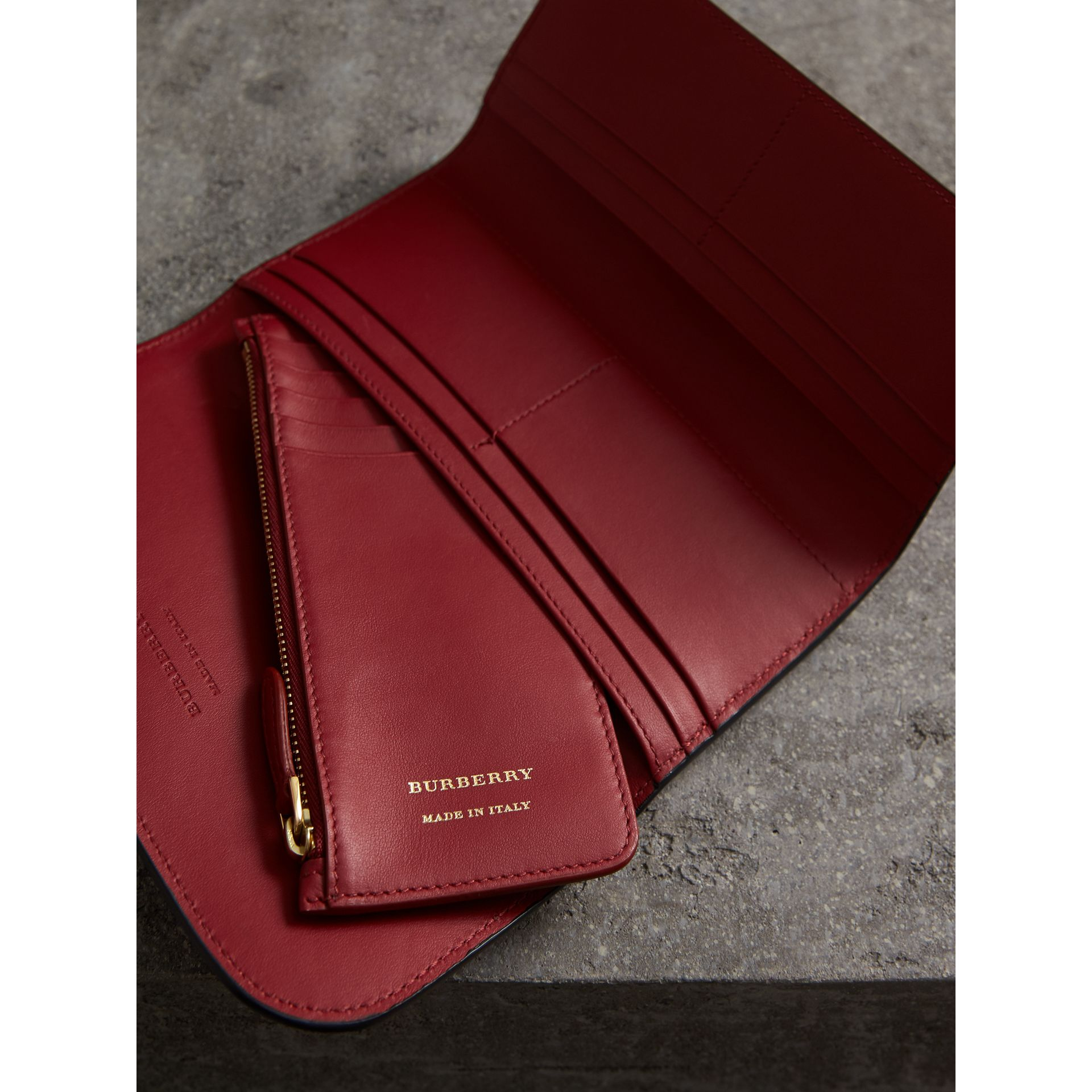 Leather Continental Wallet with Removable Coin Case in Parade Red - Women | Burberry - gallery image 3
