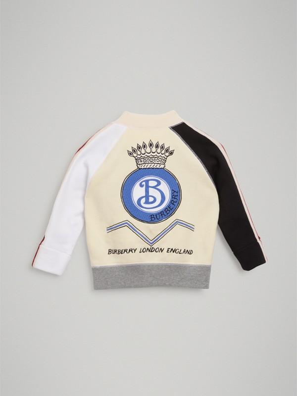 Crest Embroidered Cotton Turtleneck Sweatshirt in Grey Melange   Burberry - cell image 3