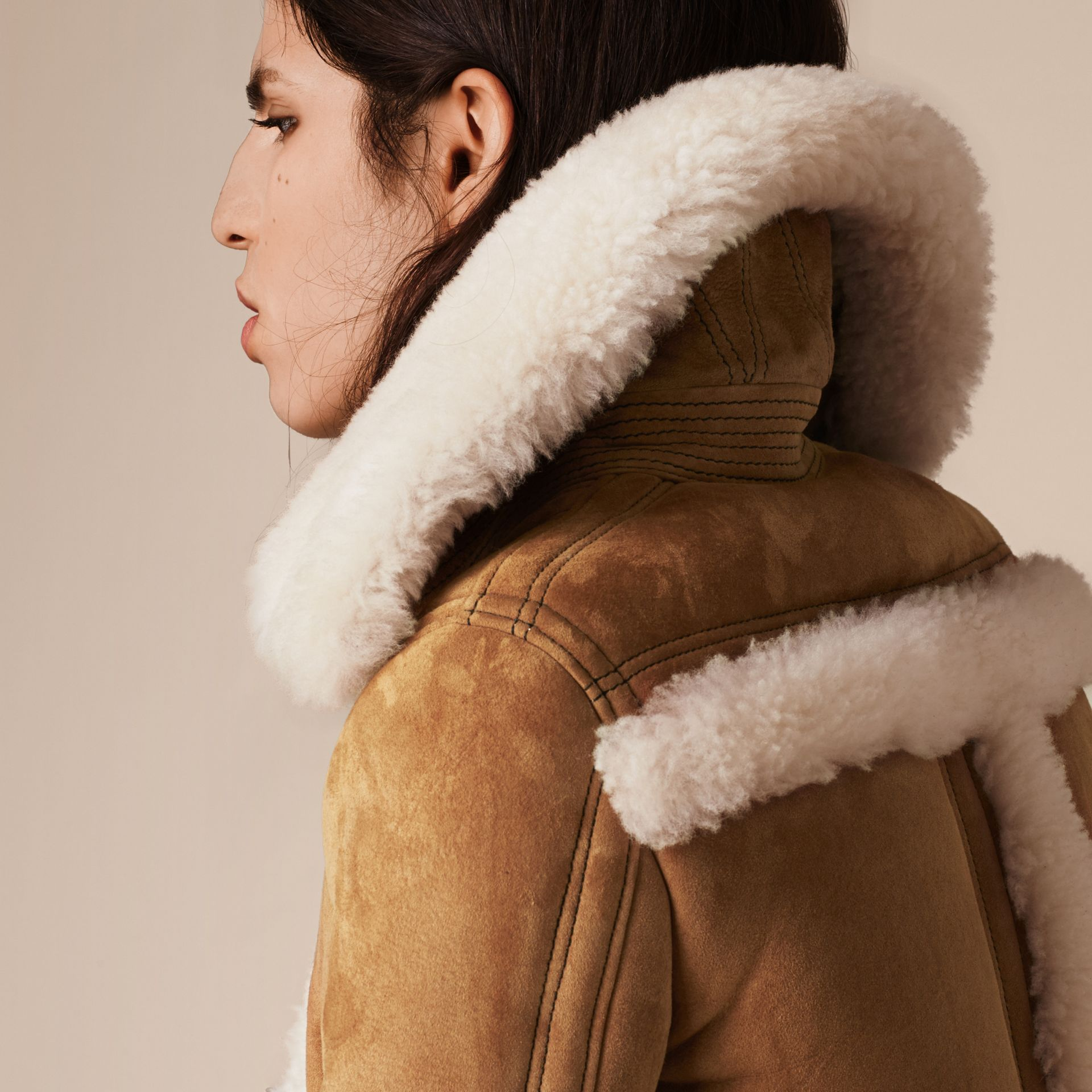 Tan/white Shearling Biker Jacket - gallery image 5