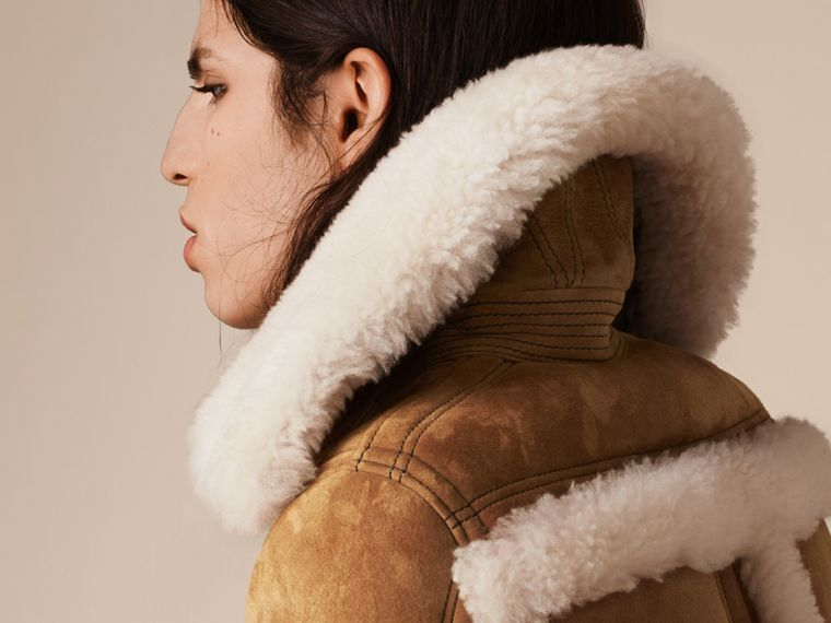 Tan/white Shearling Biker Jacket - cell image 4