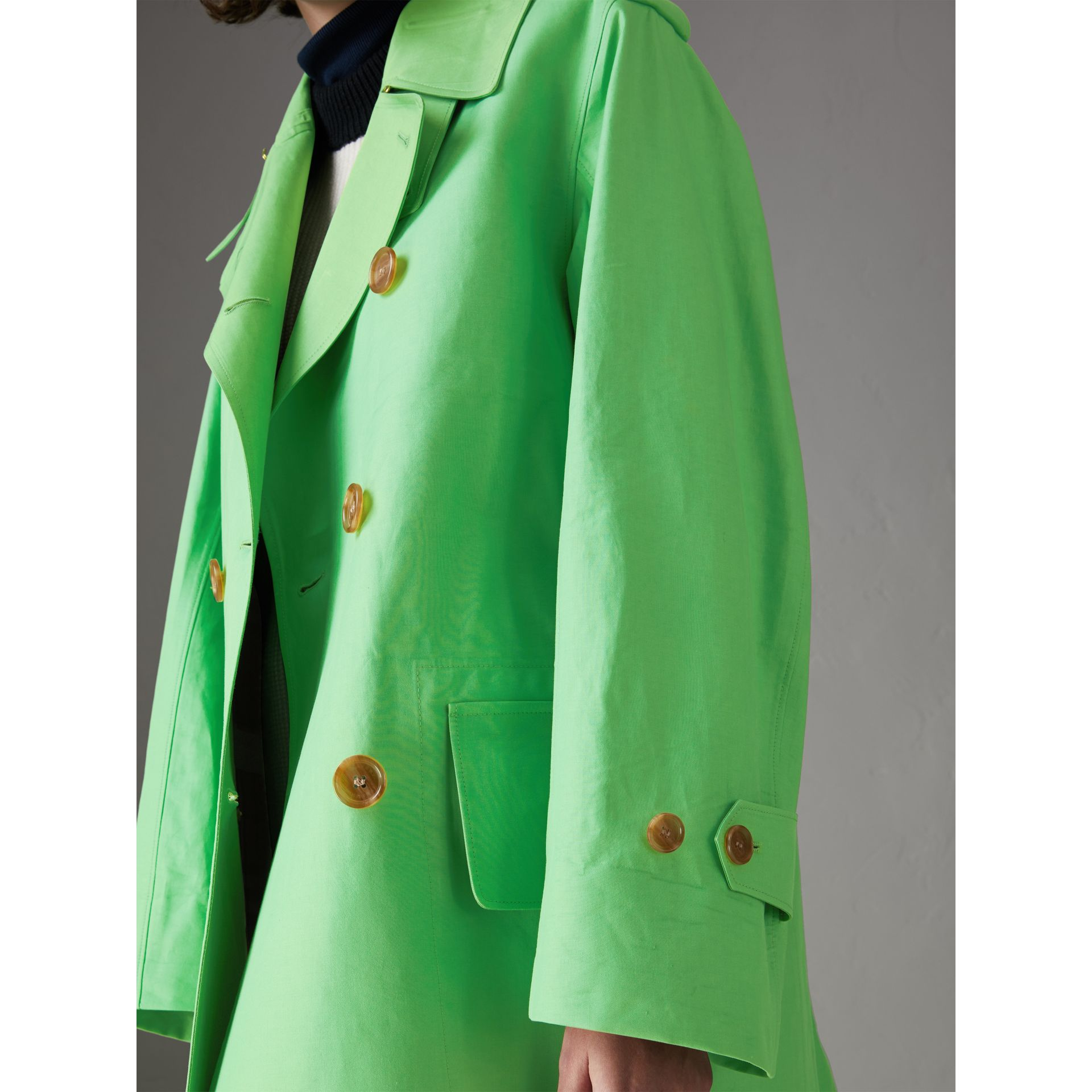 Bonded Cotton Double-breasted Coat in Bright Pigment Green - Women | Burberry - gallery image 1